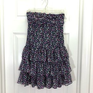 Express Floral Sweetheart Neckline Ruffles Dress